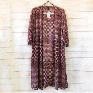 FOREVER 21 Aztec Longline Duster Kimono Cardigan S
